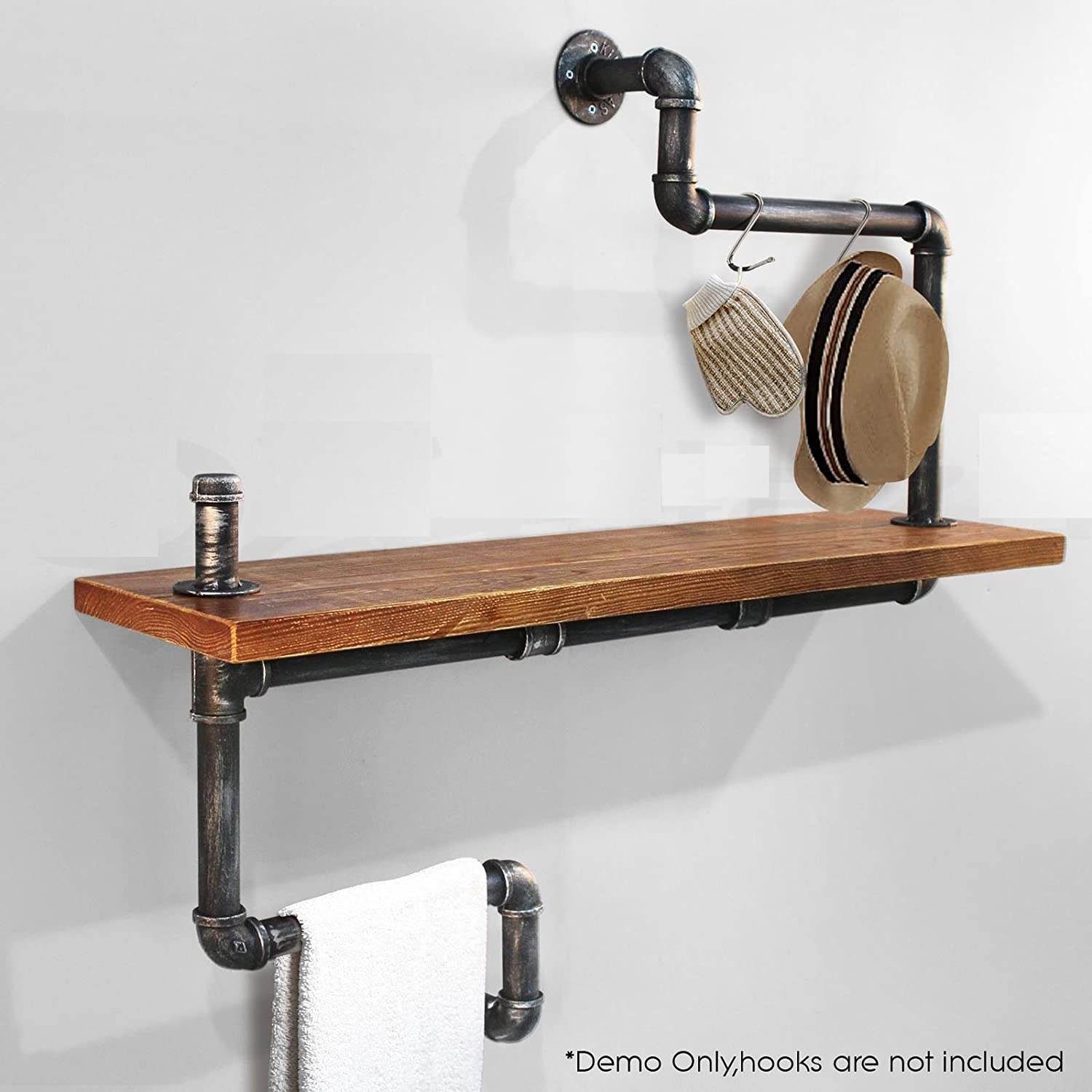 Industrial Bookcase Pipe Shelf Boards Reclaimed Galvanized Steel and Reused Wood