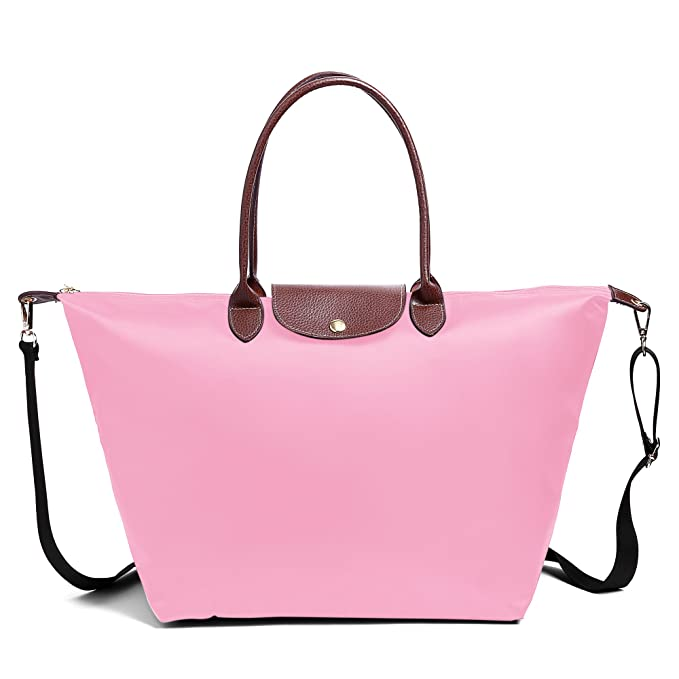 Amazon.com  BEKILOLE Women Fashion Waterproof Tote Bag Nylon Shoulder Beach  Bag with Shoulder Strap  Clothing f1c79a195a