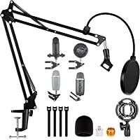 """Blue Yeti Microphone Boom Arm, Blue Yeti X Mic Stand, Snowball Mic With Shock Mounts Pop Filter And 3/8"""" 1/4"""" To 5/8…"""