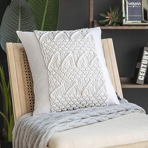 Phantoscope 100 Cotton Handmade Crochet Diamond Woven Boho Throw Pillows Farmhouse Pillows Insert Included Decorative Cushion for Couch Sofa White 18 x 18 inches 45 x 45 cm