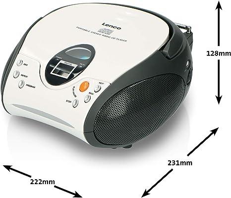 Lenco Scd24 Cd Player Für Kinder Cd Radio Stereoanlage Boombox Ukw Radiotuner Titel Speicher 2 X 1 5 W Rms Leistung Netz Und Batteriebetrieb Weiß Heimkino Tv Video