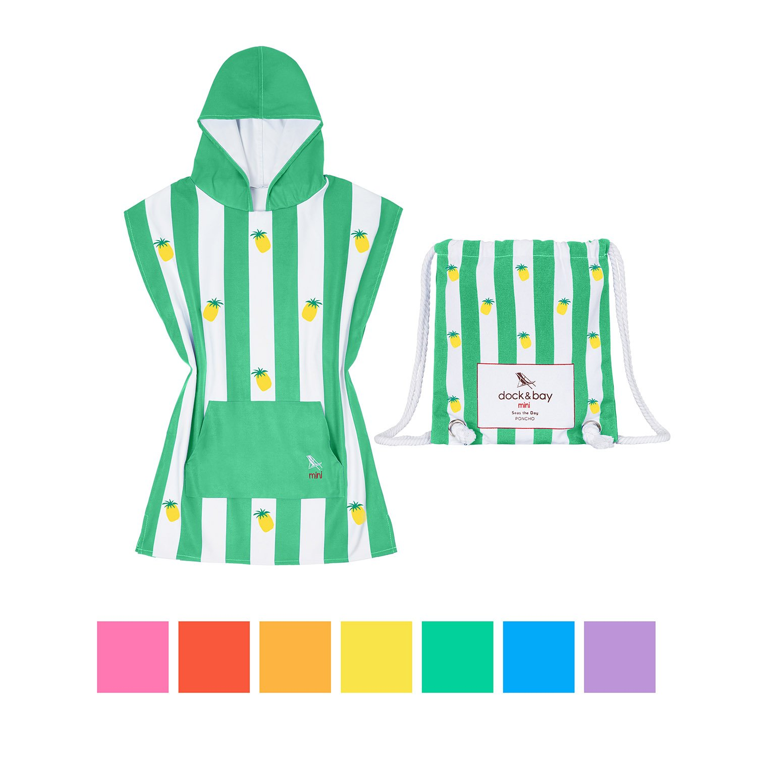 Dock & Bay Kids Poncho Microfiber towel (Green Pine, Small) - childrens hooded poncho for swimming & pool