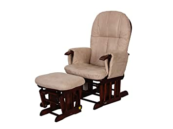 buy online 65303 f6837 Tutti Bambini GC35 Padded Smooth Glider Baby Nursing Chair and Foot Stool  With 3 Reclining Positions - Walnut Wood Frame With Cream Soft Fabric ...