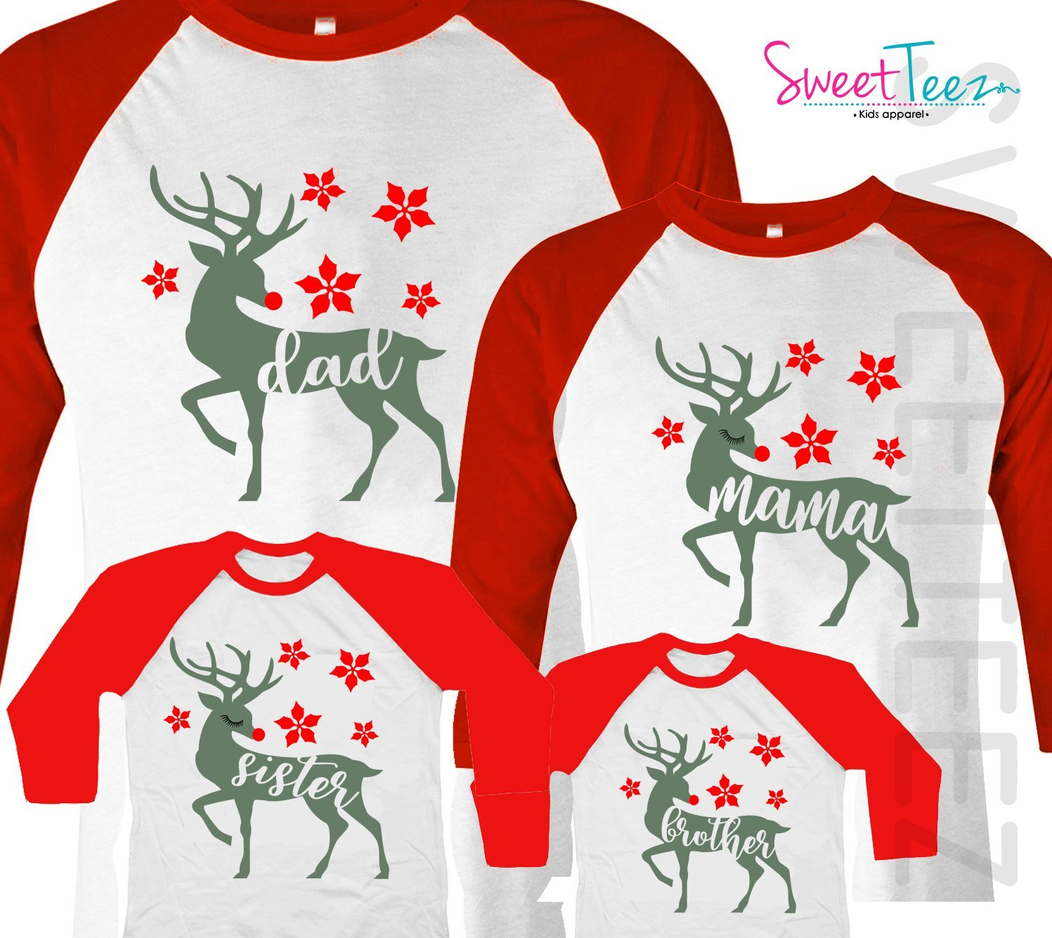 Matching Christmas Shirts For Family.Amazon Com Christmas Shirt Set Of 4 Deer Shirt Set Family