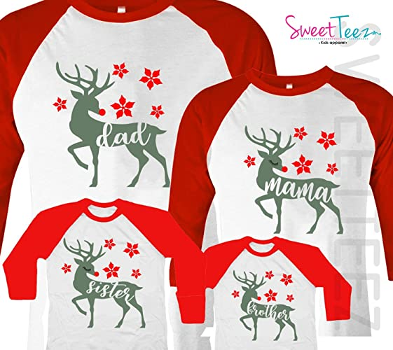 06991ec7 Amazon.com: Christmas Shirt Set of 4 Deer Shirt Set Family Matching Shirts  Papa Mama Brother Sister: Handmade