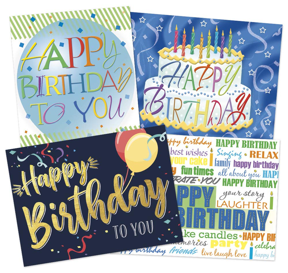50 Designer Birthday Cards - 4 Fun Designs - 52 White Envelopes - Eco Friendly