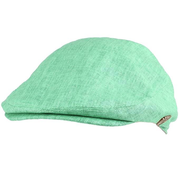 7ae8abe58540c Men s Summer 100% Linen Front Snap Flat Golf Ivy Driving Cap Hat ...