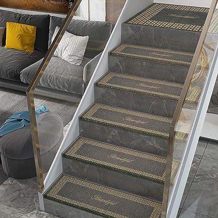 Alfombra Antideslizante Insonorizadas para Escaleras con Plegado De 3 Cm, Alfombra De Escalera Rectangular De Color Café, Almohadillas Autoadhesivas Lavable, Goodtime,7pc-75x26cm: Amazon.es: Hogar