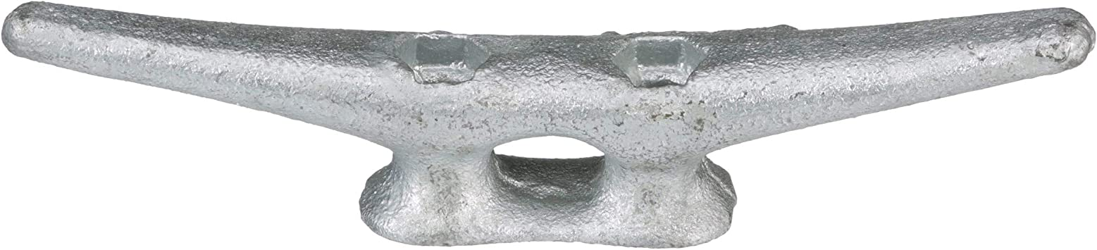 8 Pack of 4 Inch Galvanized Gray Iron Open Base Cleats for Boats and Docks