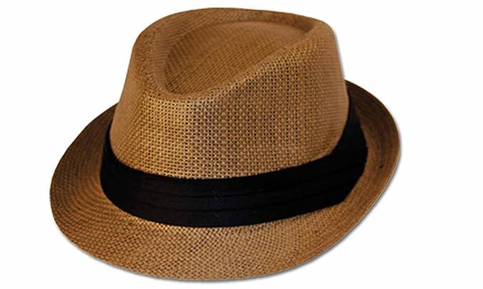 29eb72e8f67 Sakkas 6241F Structured Unisex 100% Paper Straw Cuban Style Fedora Hat -  Brown - L