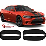 Aggressive Overlays for 2015-2020 Dodge Charger -Front & Rear Tinted Side Marker Light Overlays | Precut Smoked Vinyl Tint Film Black Out Dark Smoked (20% Dark Smoked)