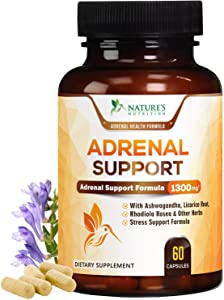 Adrenal Support & Cortisol Support 1300mg - Extra Strength Stress Support & Adrenal Support Supplement with Ashwagandha, Licorice Root, Rhodiola Rosea & Other Herbs, Non-GMO - 60 Capsules