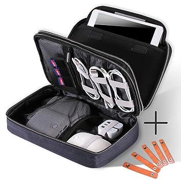 Organizador Cables Bolsa de Viaje, Organizador Electronica para cables auriculares gadgets, guarda cables con cremallera, Tamaño Ideal para iPad ...