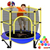 """Trampoline for Kids with Net - 5 FT Indoor Outdoor Toddler Trampoline with Safety Enclosure for Fun, 60"""" Small Baby Trampolin"""