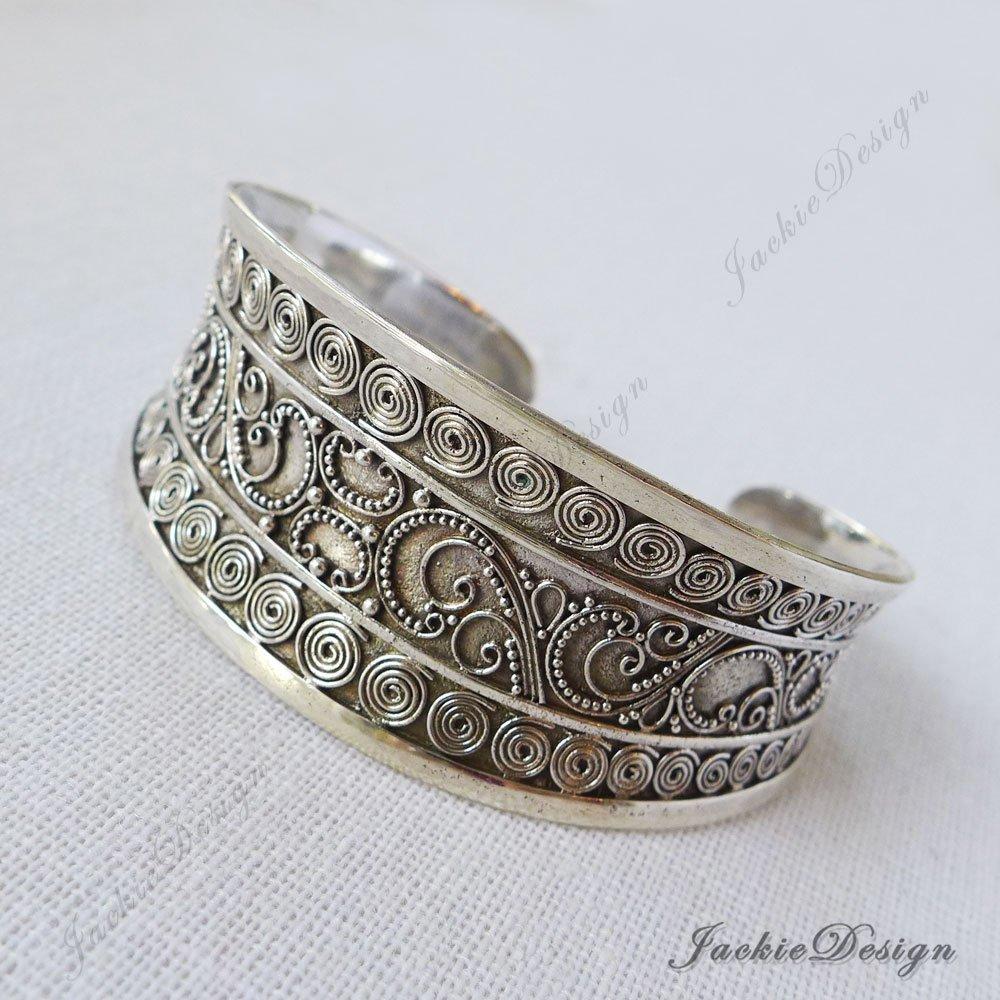 ee650b6b2 Amazon.com: Large Bali Ornate Handmade 925 Sterling Silver Bangle Cuff  Bracelet JD181: Handmade