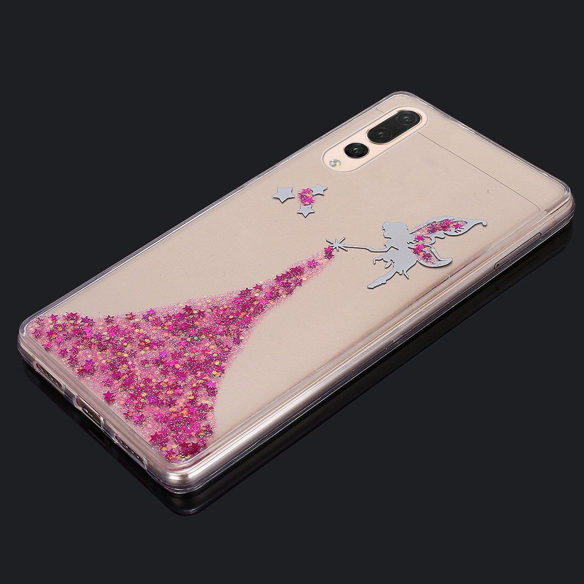 Cover Huawei P20 Pro,Custodia Huawei P20 Pro,Bling scintillio della scintilla Stelle della ragazza Angelo Trasparente Silicone Gel Case Cover Crystal Clear Custodia Cover per Huawei P20 Pro,Rosa