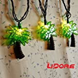 LIDORE Palm Tree String Lights. 10 Counts Warm White Light for Summer Party