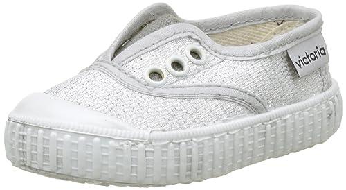 Victoria Inglesa Elástico Lurex, Zapatillas Unisex bebé, Plateado (Plata), 20 EU: Amazon.es: Zapatos y complementos