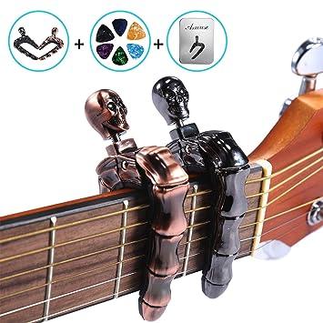 Asmuse Cejilla Guitarra Española Electricas Clásica Electrica Acustica Clasica Folk Ukelele Bajo instrumento guitar Skeleton Capo Ligero Aleación de ...