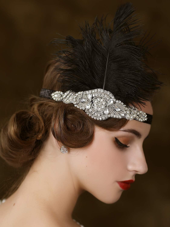 Sweetv Bandeau /à plumes et strass pour cheveux Noir
