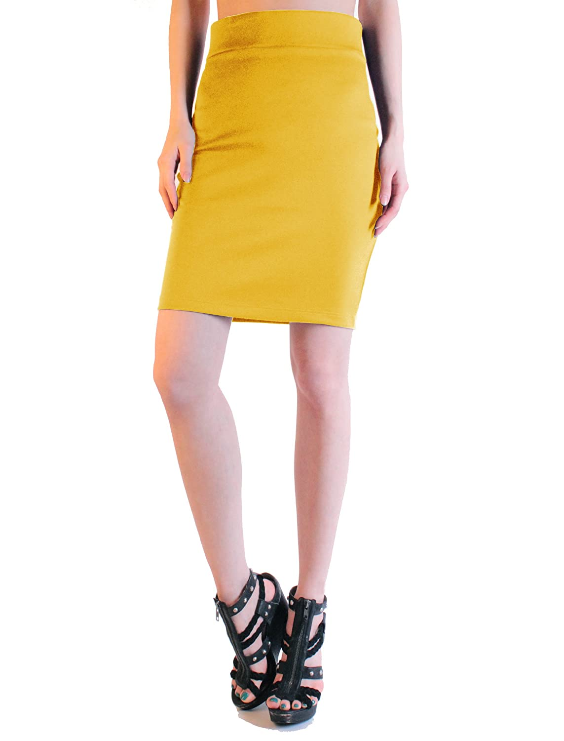 LeggingsQueen High Waist Stretch Basic Pencil Mini Skirt
