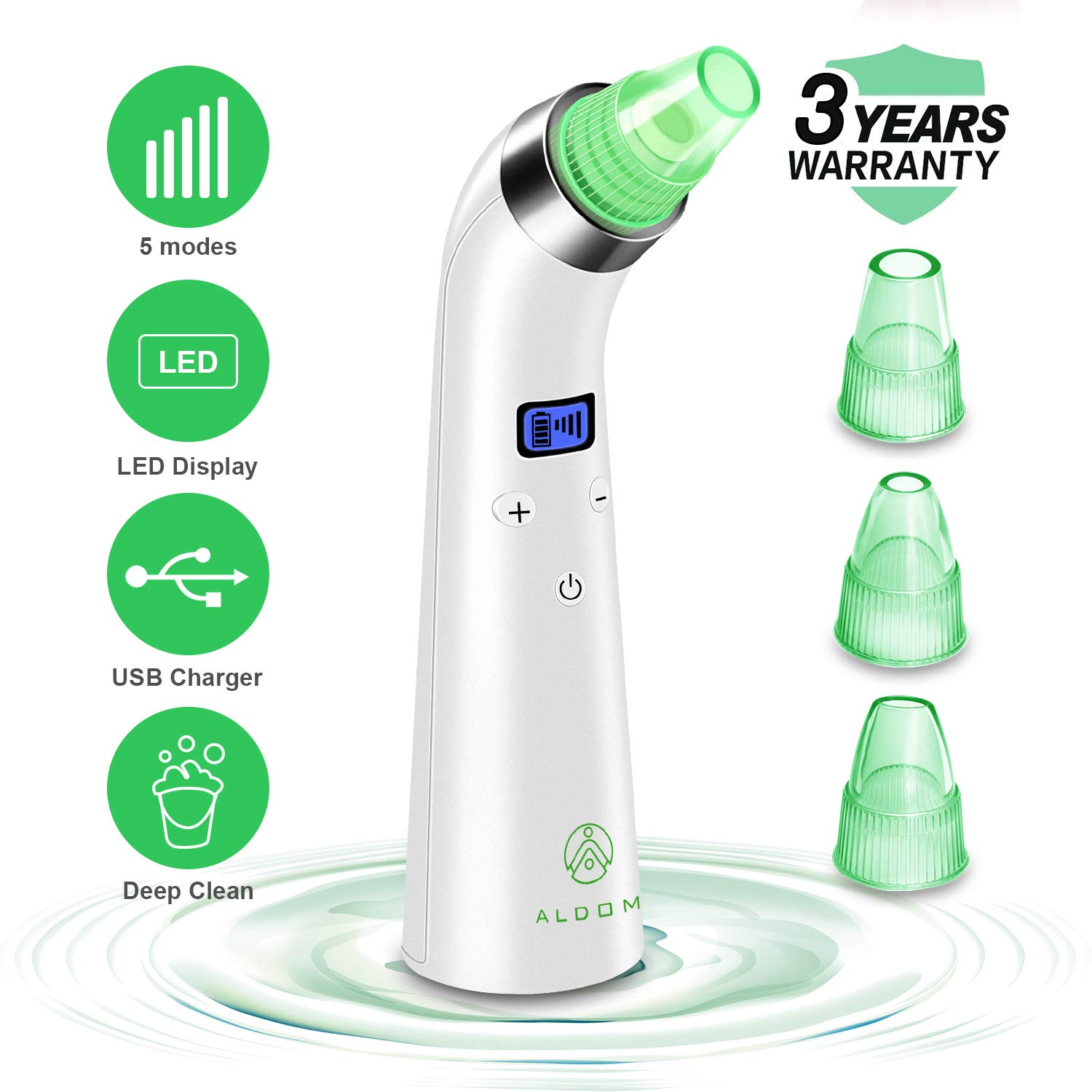 Blackhead Remover Pore Vacuum - Electric Blackhead Vacuum Cleaner Extractor Tool Device Comedo Removal Suction Machine Beauty Device with LED Display for Facial Skin Treatment By ALDOM Aldom Inc BR-AL-00001