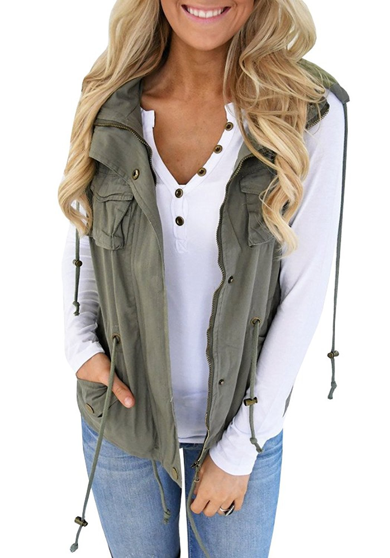 Farktop Women's Lightweight Sleeveless Military Stretchy Drawstring Jacket Vest with Zipper (XXL, Green)