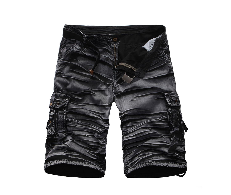 Elonglin - Pantalón Corto - Cargo - Liso - para Hombre Negro y Verde 40