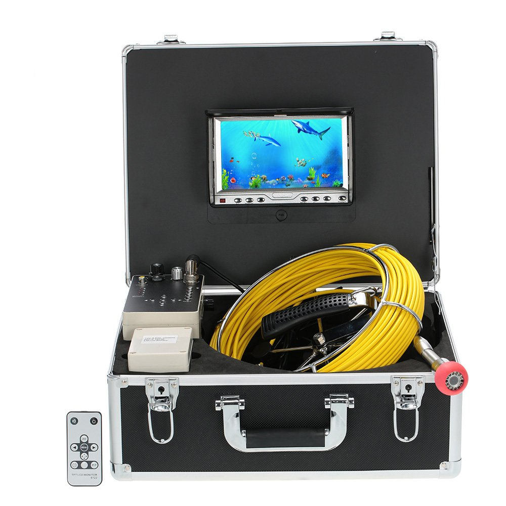 20M+7 Pantalla LCD+HD 1000 c/ámara+960TVL CCD+12 Leds Night Vision Drenaje Tubo Inspecci/ón C/ámara de Video Lixada 110-7D1 con Detector de Tuber/ía DVR Impermeable