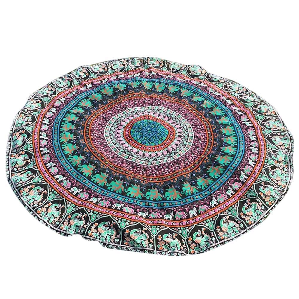 Aiserkly Indian Large Round Bohemian Hippie Tapestry Beach Picnic Throw Shawl Outdoor Camping Yoga Mat Towel Blanket