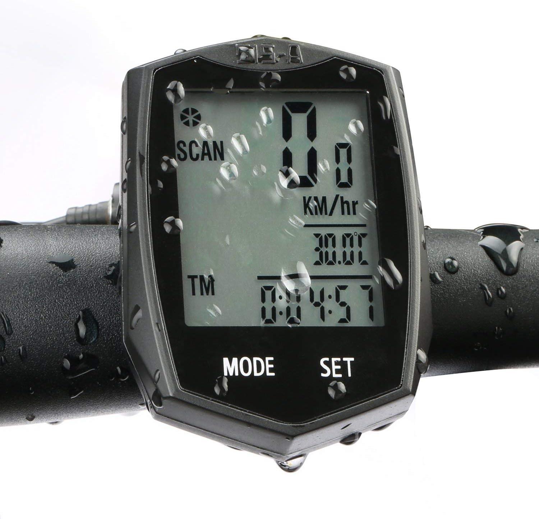 BIGO Ciclocomputador Ordenador Para Bicicleta Impermeable Velocímetro Inalámbrico de Bicicleta Cuentakilómetros para bicicleta, 22 Funciones con LCD Retroiluminada Color-Negro
