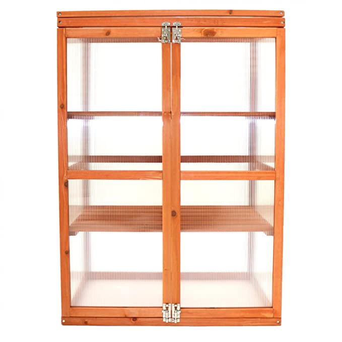 Oypla Wooden 2 Shelf Outdoor Cold Frame Cupboard Grow House