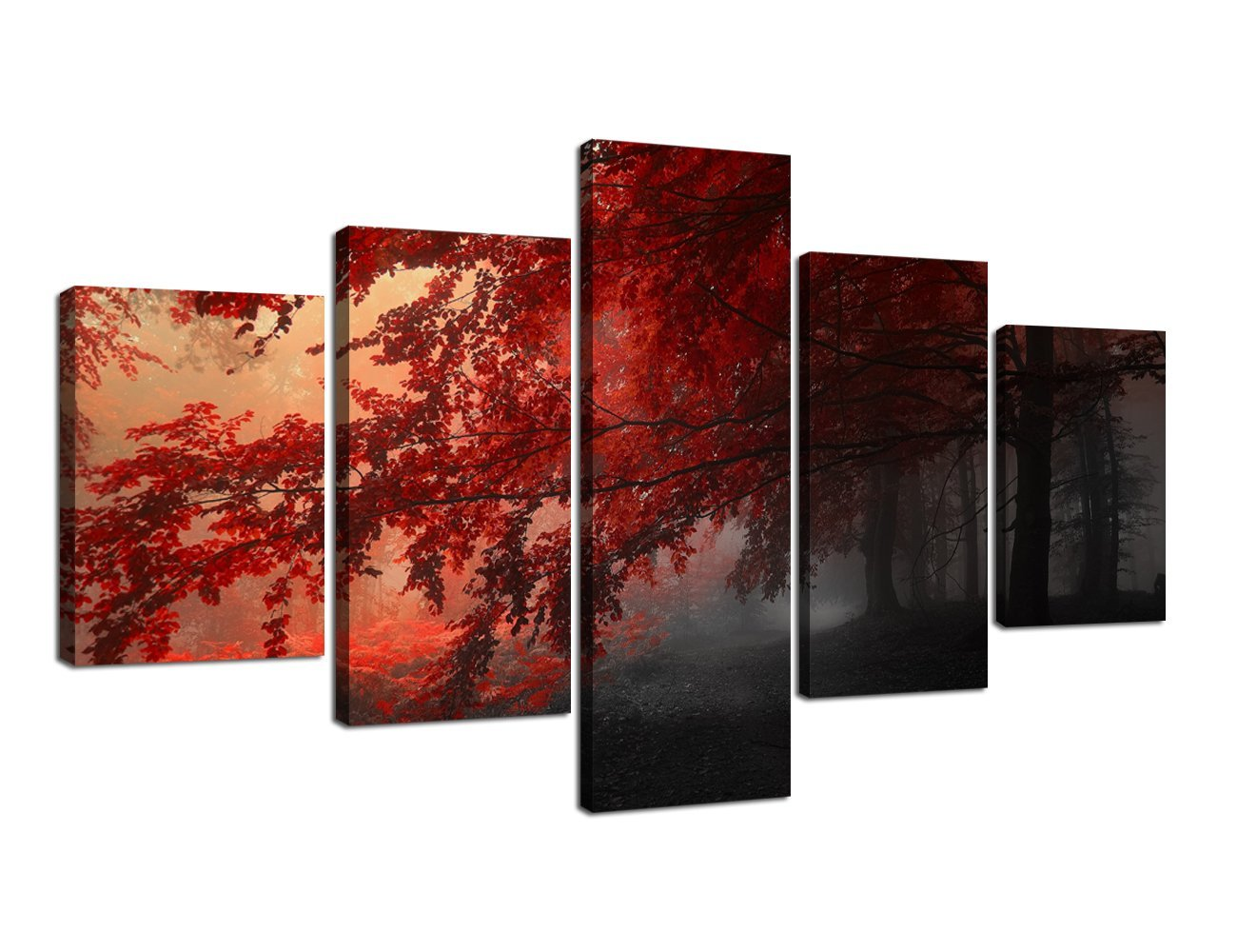 Yatsen Bridge Autumn Red Tree Maple Forest Modern Pictures 5 Pieces Artwork Living Room Large Canvas Painting Wall Art Set Wood Frame Indoor Ready to Hang Wall Decorative(70''W x 40''H)
