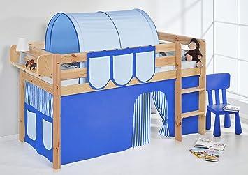 Etagenbett Hochbett Spielbett Kinderbett Jelle 90x200cm Vorhang : Lilokids jelle2054kn blau s spielbett jelle hochbett mit
