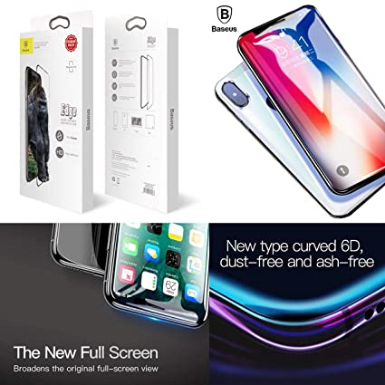 half off 86ba7 0b42b Baseus B® Ultra Thin 6D Screen Protector for iPhone X/XS 0.2mm ARC Tempered  Glass for iPhone X/XS Glass Screen Protector for iPhone X/XS Full Screen ...