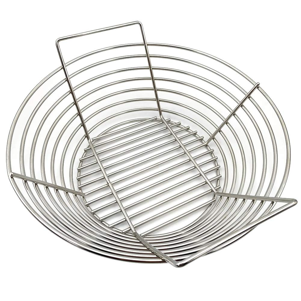 FIRECOW Stainless Steel Charcoal Ash Basket Grill Baskets Fit for Big Green Egg, Primo Kamado and Large Grill Dome