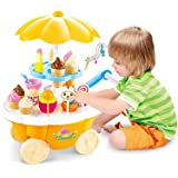 learn with fun Ice Cream Play Cart Kitchen Set Toy with Lights and Music, Small(30 Piece) …