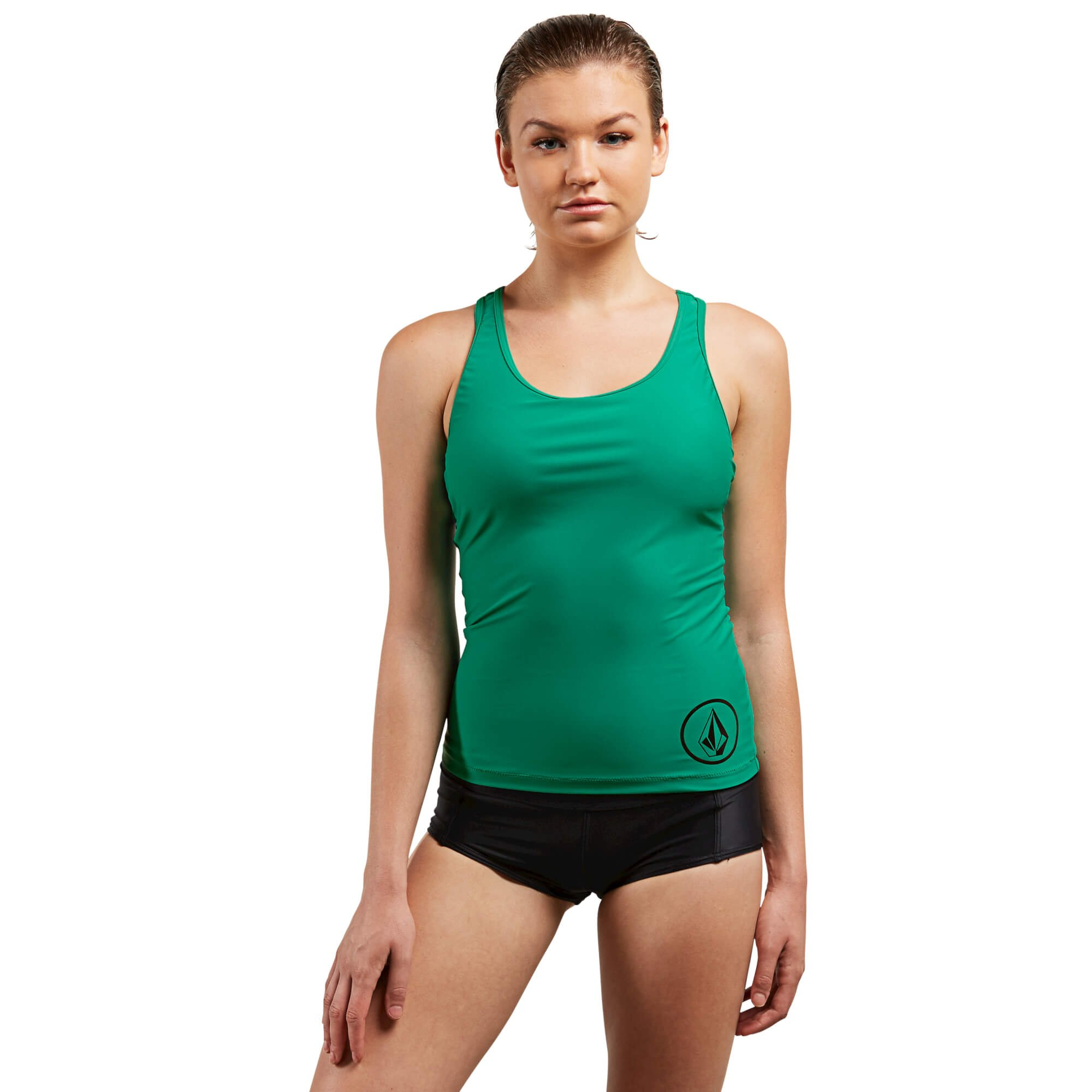 Volcom Women's Simply Solid Racerback Sporty Swimsuit Tankini Top, Green Spray, Extra Large