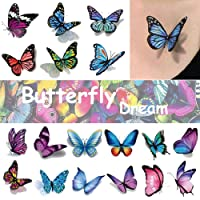 Ooopsi Butterfly Tattoos for Kids Womens - 110 Pcs 3D Tattoos, Colorful Body Art...