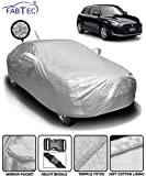 Fabtec Waterproof and Heat Resistant Metallic Silver Mirror and Antenna Pocket Car Body Cover for Maruit Swift (2018-2019) with Soft Cotton Lining (Full Bottom Elastic, Full Sized, Triple Stitched)