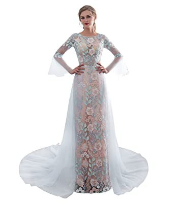 2ff915977f59 Elegant Long Sleeve Color Lace Evening Dresses Slim Formal Prom Dress with Train  Sky Blue