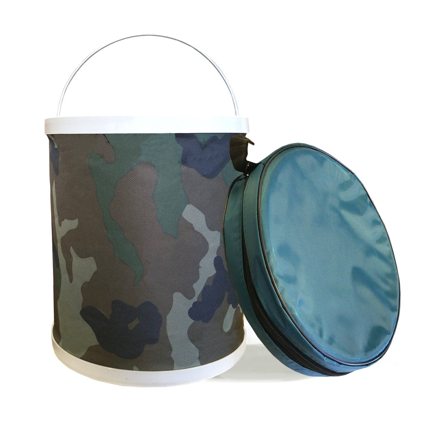 Compact Collapsible Water Bucket by InSassy – Perfect for Camping, Gardening and Outdoors – Durable, Lightweight and Portable Folding Wash Basin Storage Fishing Beach Container – Camo Color