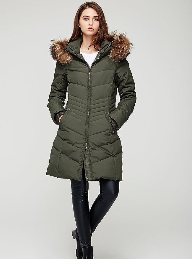ff924237d Escalier Women's Down Jacket Winter Long Parka Coat with Raccoon Fur Hooded