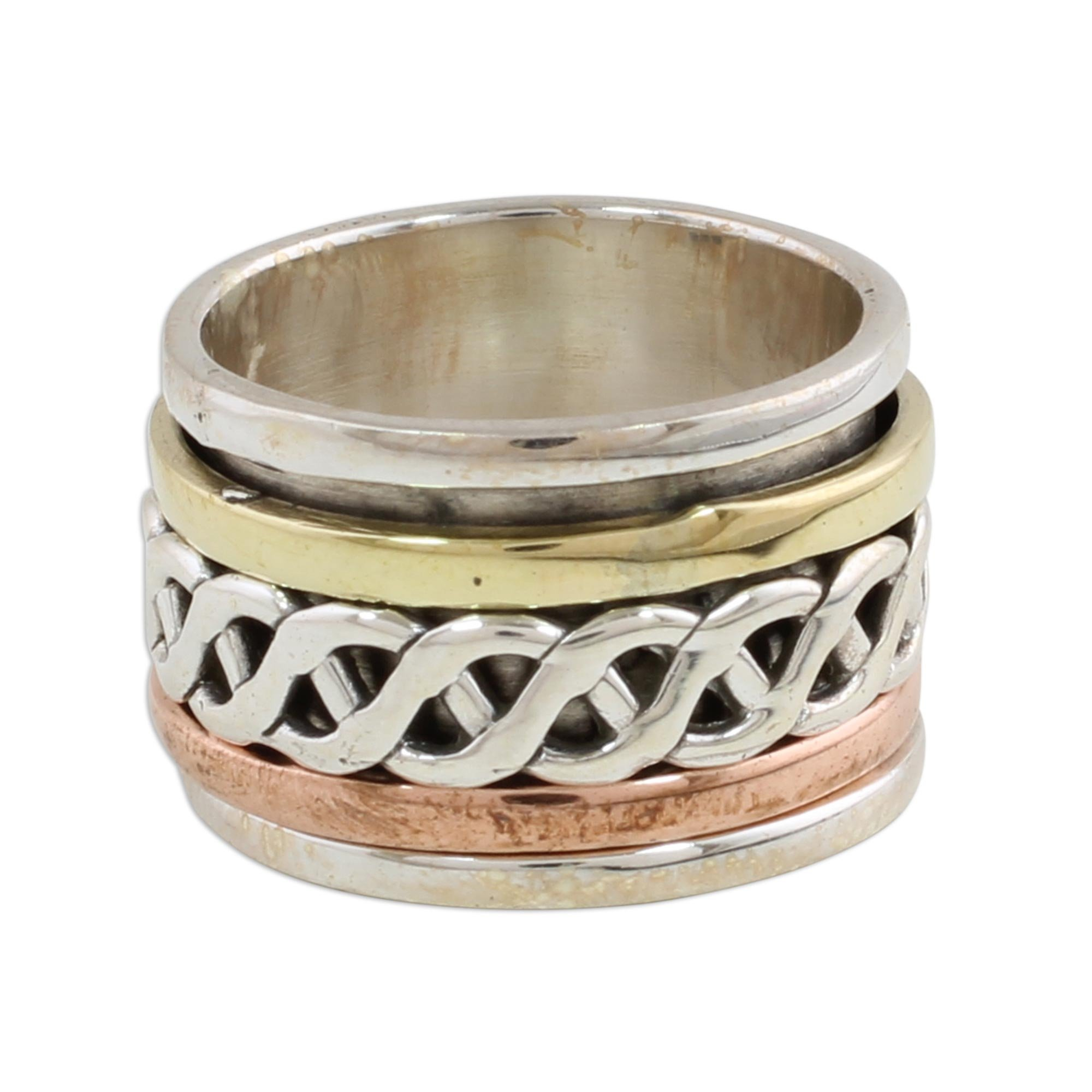 NOVICA .925 Sterling Silver Copper Brass Tri-Metal Meditation Spinner Ring 'Spinning Braid'