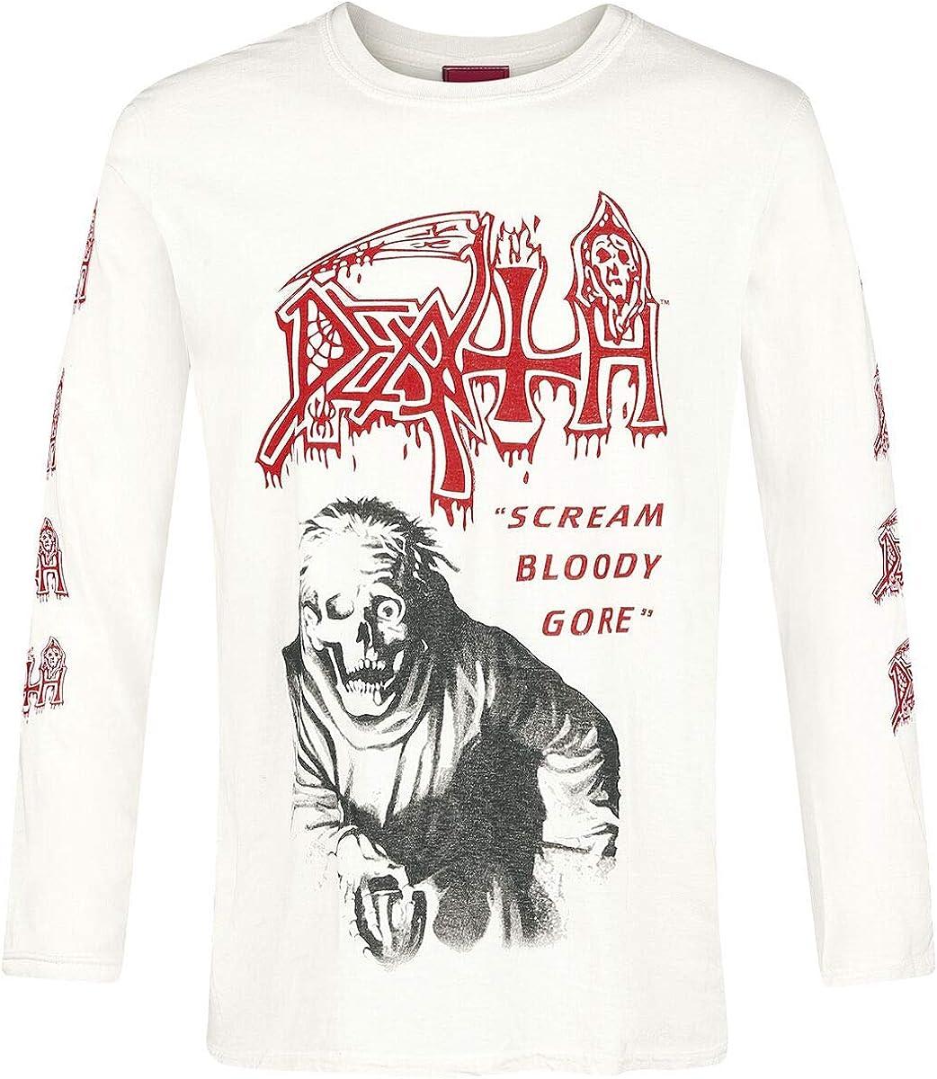 Death Scream Bloody Gore Hombre Camiseta Manga Larga Blanco Roto, Regular: Amazon.es: Ropa y accesorios