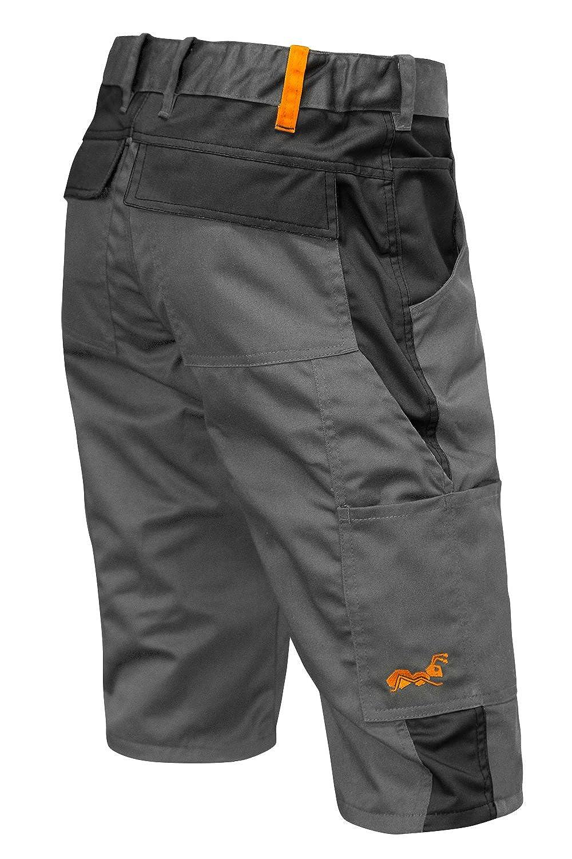 strongAnt Pantalones Cortos de Trabajo para el Verano 280 GR - Hecho en la UE - Kermen - Gris Negro Naranja