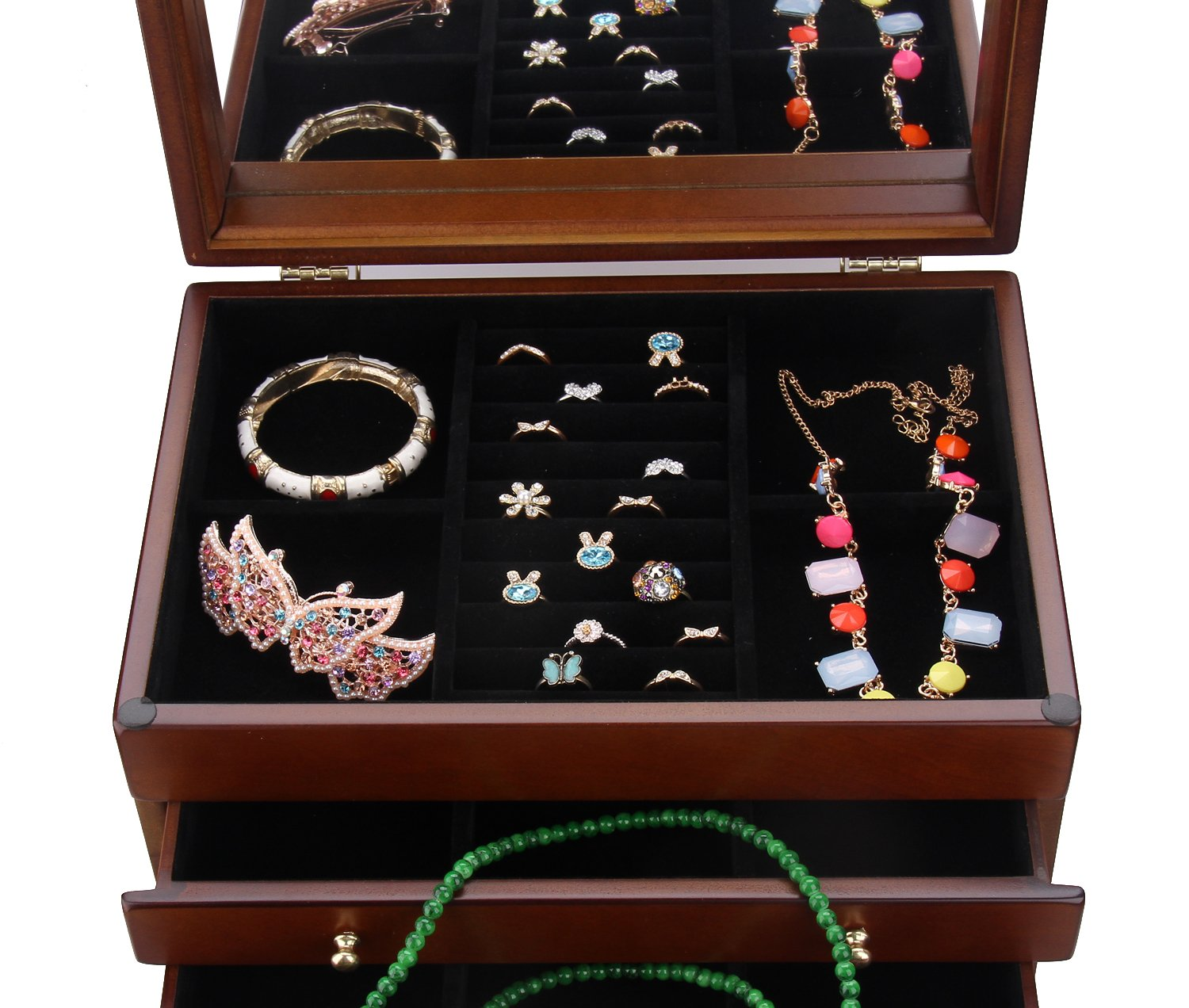 Large Wooden Jewelry Box Necklace Ring Armoire Crate on Dresser Chest Organizer Armoire11.6 inch x7.87 inch x11.2 inch by BELLAMORE GIFT (Image #3)