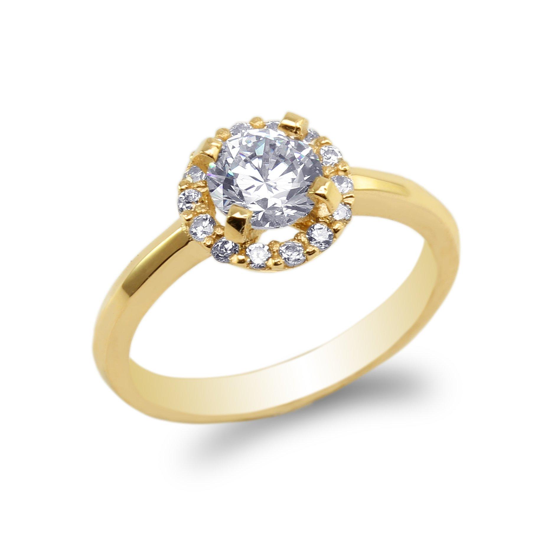 JamesJenny 10K Yellow Gold Halo Style Round CZ Ring Size 9.5