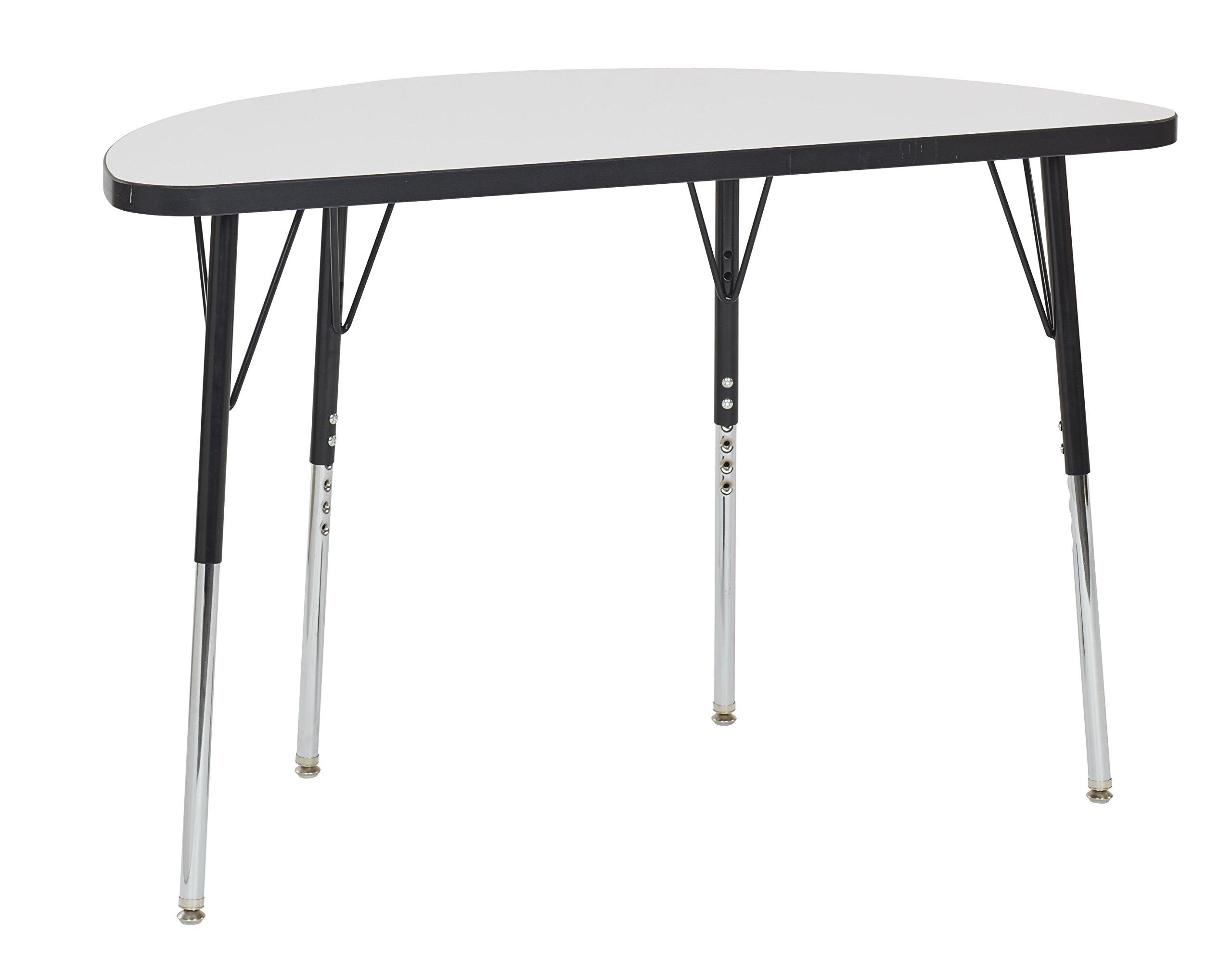 ECR4Kids Mesa Dry-Erase 24'' x 48'' Half Round School Activity Table, Standard Legs w/ Swivel Glides, Adjustable Height 19-30 inch (Black)