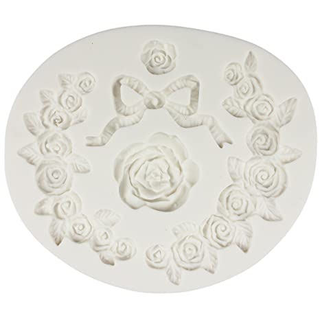 Oval Rose Cake Baking Mold Silicone Resin Clay Mould Polymer Mold Random Color